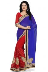 De Marca Blue - Red Colour Faux Georgette Saree (Product Code - K-5151)