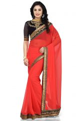 De Marca Red Colour Faux Georgette Saree (Product Code - K-5159)