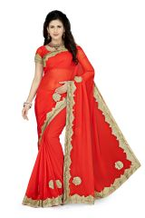 De Marca Red Colour Faux Georgette Saree (Product Code - K-5181)