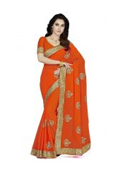 De Marca Orange Faux Chiffon Saree (Code - De Marca K-5210)