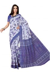 De Marca Blue Pure Cotton Saree (Code - Kal4955)