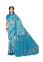 De Marca Blue Pure Cotton Saree (Code - Kal4957)