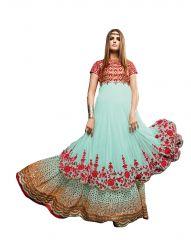 De Marca Sky Blue Pure Soft Net Semi Stitch Gown (Product Code - Lil9041)