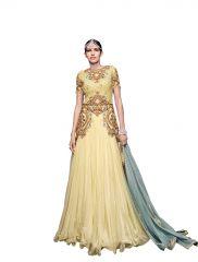 De Marca Cream Pure Silk - Pure Soft Net Semi Stitch Gown (Product Code - Lil9048)