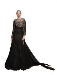 De Marca Black Pure Soft Net Semi Stitch Gown (Product Code - Lil9049)