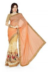 De Marca Orange, Beige  Brasso, Net Saree (Product Code - M1326)