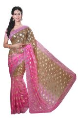 De Marca Pink-Brown Colour Chiffon Padding Saree (Product Code - M1551)