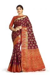 De Marca Purple Colour Tussar Art Silk Saree (Code - M1654)