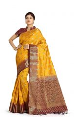De Marca Yellow Colour Tussar Art Silk Saree (Code - M1661)