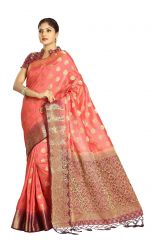 De Marca Peach Colour Tussar Art Silk Saree (Code - M1662)