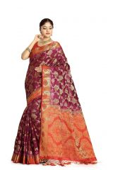 De Marca Purple Colour Tussar Art Silk Saree (Code - M1664)