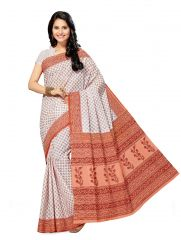 De Marca White - Red Cotton Saree (Product Code - Mon60008)