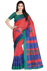 De Marca Orange - Green - Blue Art Silk Saree (Product Code - P-32)