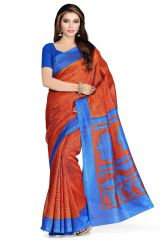 De Marca Brown - Blue Art Silk Saree (Product Code - P-41)