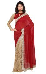 De Marca Beige-Red Colour Faux Georgette-Chiffon Half n Half Saree (Product Code - RTSN97045)