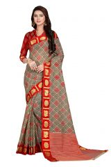 De Marca Grey - Red Gadwal Silk Saree (Code - De Marca SB-1620)