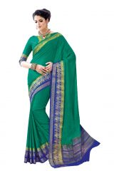 De Marca Green - Blue Crepe - Silk Saree (Code - Sin2535)