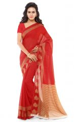 De Marca Red Colour Faux Georgette Saree (Product Code - TSAND058B)