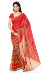 De Marca Red Colour Faux Georgette Saree (Product Code - TSAND1164A)