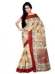 De Marca Beige Colour Silk Saree (Product Code - TSKJ13353)