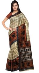 De Marca Beige-Brown Colour Art Silk Saree (Product Code - TSKJ13511C)