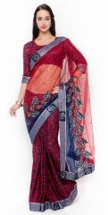 De Marca Red Colour Net Saree (Product Code - TSMH2328)