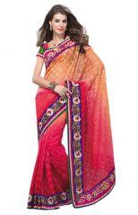De Marca Pink-Orange Colour Brasso Saree (Product Code - TSMN2020)