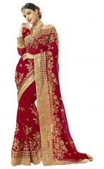 De Marca Maroon Colour Faux Georgette Saree (Product Code - TSN1209)