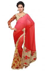 De Marca Red Colour Faux Georgette Saree (Product Code - TSN641)