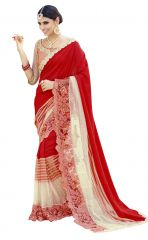 De Marca Red Colour Faux Georgette Saree (Product Code - TSN96062)