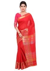 Demarca Red Art Silk Blended Cotton Saree (Code - TSNAT1402)