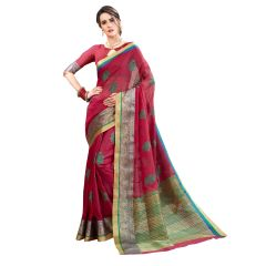 De Marca Wine Cotton-Silk Saree - ( Code - TSNBM93101 )