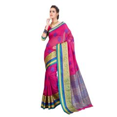 De Marca Pink Cotton-Silk Saree - ( Code - TSNBM93105 )