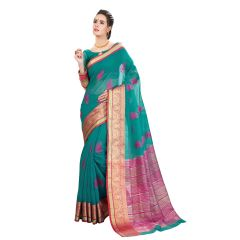De Marca Green Cotton-Silk Saree - ( Code - TSNBM93107 )