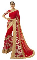 De Marca Red Colour Faux Georgette-Net Saree (Product Code - TSNCD1115)