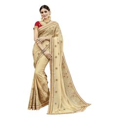 12fac1cd73c29f Buy Swaron Pink And Beige Chiffon Saree With Unstitched Blouse ...