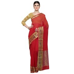 De Marca Red Art Silk Saree - ( Code - TSNKG5204 )