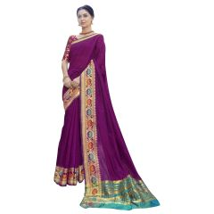 De Marca Purple Art Silk Saree - ( Code - TSNKG5212 )