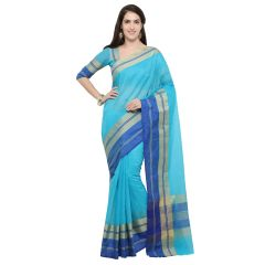 De Marca Sky Blue Blended Cotton Saree - ( Code - TSNME13031 )