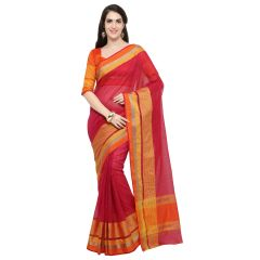 De Marca Pink Blended Cotton Saree - ( Code - TSNME13032 )