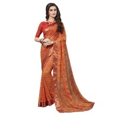 De Marca Orange Georgette Saree - ( Code - TSNMED31002 )