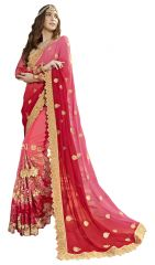 De Marca Peach-Red Colour Faux Georgette Saree (Product Code - TSNRC1904)