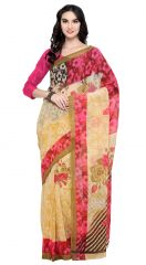 De Marca Beige-Red Colour Faux Georgette Saree (Product Code - TSNSH112)