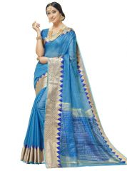 Demarca Sky Blue Blended Cotton Saree (Code - TSNSM4502)