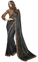De Marca Grey Colour Faux Georgette Saree (Product Code - TSNSY31026)