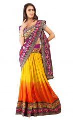 De Marca Yellow-Orange Colour Faux GeorgetteLehenga Saree (Product Code - TSSF1909)