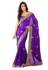 De Marca Violet Colour Faux Georgette Saree (Product Code - TSSF9007)