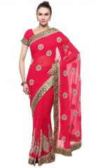 De Marca Pink Colour Faux Georgette Saree (Product Code - TSSF9421A)