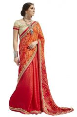 De Marca Red Colour Faux Georgette Saree (Product Code - TSSGR4801)