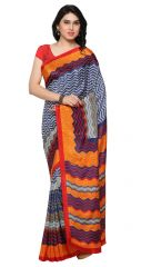 De Marca Multi Colour Crepe Saree (Product Code - TSSUNCS13349)